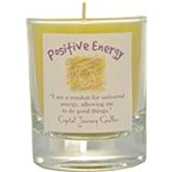 Crystal Journey Candle POSITIVE ENERGY ~ Glass Filled Votive REIKI Charged Herbal Magic Candle