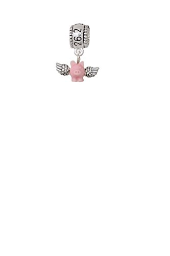 - Mini Pink Flying Pig Marathon 26.2 Run Charm Bead