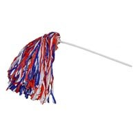 Cheerleading Company Three Color Rooter Pom - Qty. 10, Red/White/Royal -
