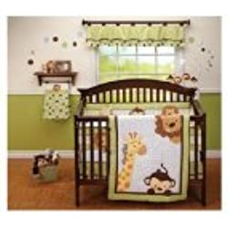 Little Bedding 3 Piece Monkey Comforter Set, Jungle Pals unisex