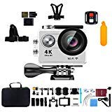 """Action Camera, Kebo 2.0"""" LCD Screen 4K WiFi Ultra HD Waterproof Sport Camera 170 Wide-Angle Lens, Remote Control, Full Accessories Kits Waterproof Case - Silver Kebo"""