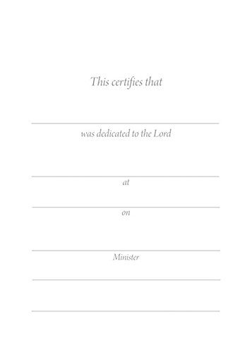 Child Dedication Certificate - 5 x 7 folded, Premium, Gold Foil Embossed - (Package of 6)