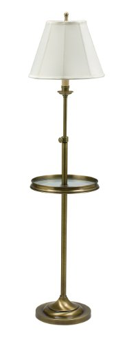 House Of Troy CL202-AB Club Collection Portable Floor Lamp with Glass Table, Antique Brass with White Softback Shade