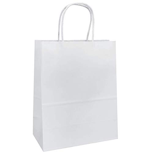 "8""x4.75""x10"" - 100 Pcs White Kraft Paper Bags, Shopping, Mechandise, Party, Gift Bags, Flexicore Packaging®"