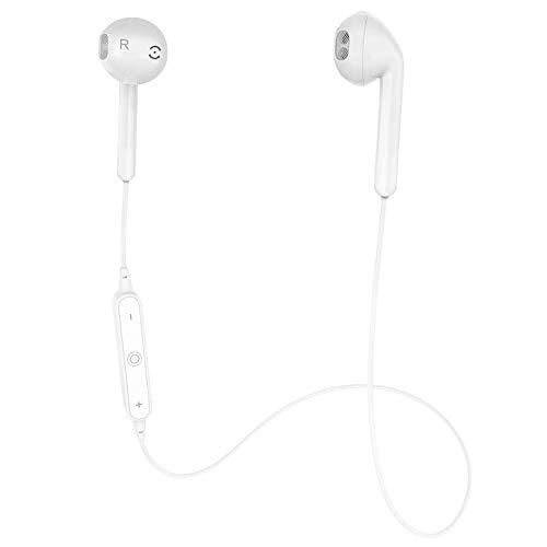 GEJINA Wireless Bluetooth Headphones, 4.1 Waterproof Sports Earphones, Lightweight HD Stereo Headset Built-in Mic, Noise Cancelling Earbuds (White)
