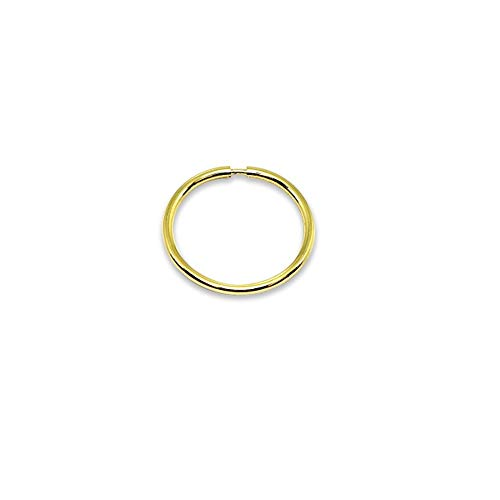 14K Gold Single Tiny Small Endless 10mm Round Thin Lightweight Unisex Hoop Earring (1pc) (Gay Belly Button Rings)