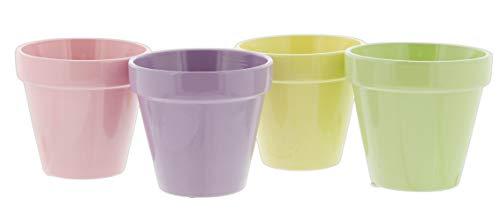 Set of 4 Ceramic Planter Pots in Pink, Purple, Yellow, Green, 3.5