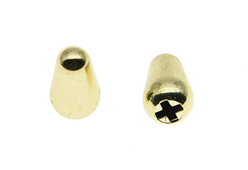 KAISH 2pcs Guitar 5 Way Pickup Selector Switch Tip Switch Cap Switch Knob Fits USA Fender Strat/Tele/Stratocaster Gold