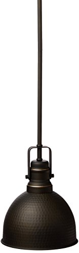 Westinghouse Lighting 6345600 One-Light Mini Pendant Hammered Oil Rubbed Bronze Finish with Highlights, (Hammered Light Metal Pendant)