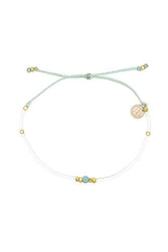 Pura Vida Gem and Tube Seed Bead Bracelet - Adjustable Band, 100% Waterproof - White Amazonite