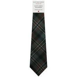 Mens Tie All Wool Made in Scotland Scott Green Weathered Tartan