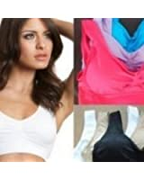 Genie Bra 3 Pack w/Removeable Pads Size Small - Blue/Pink/Purple
