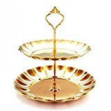 zehui Two layer cake tray Stainless steel Cupcake Stand Round Wedding Birthday Cake Display Tower( Gold )