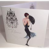 MARANDA-TI Katherine Art Deco Glamour Birthday Greeting Card by Marilyn Robertson - 6.25 x 6.25 inches