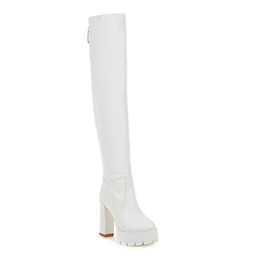 Round Closed Toe top Pull Women's Boots Material White Heels Allhqfashion Soft High High on vwSzz1q