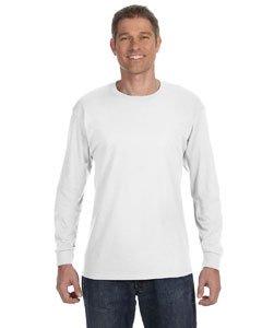 Jerzees Men's Heavyweight Blend 50/50 Long Sleeve T-Shirt (White, XXX-Large)