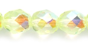 Preciosa Czech Fire 8mm Polished Glass Bead, Faceted Round, Jonquil Aurora Borealis, 80-Pack