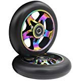 aibiku 110mm Pro Stunt Scooter Wheel with ABEC-11 Bearings Fit for Fuzion/Envy/MGP/Lucky TFOX/Pro Scooters - Colorful(Pair)