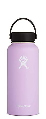Hydro Flask 32 oz Double Wall Vacuum Insulated Stainless Steel Leak Proof Sports Water Bottle, Wide Mouth with BPA Free Flex Cap, Lilac