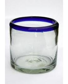 Mexican Blown Glass DOF Rock Glasses Cobalt Blue Rim (Set of 6) (Set Blown Glass)