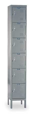 Hallowell U1228-6HG Premium Locker, 12'' Width x 12'' Depth x 78'' Height, 6-Tier, 1-Wide, Knock-Down, 725 Gray
