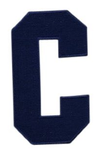 Hockey Style Patch NAVY BLUE C Patch (Captain) Iron On for Jersey Football, Baseball. Soccer, Hockey, Lacrosse, Basketball ()
