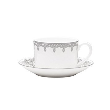 Lismore Lace Platinum Teacup and Saucer Set