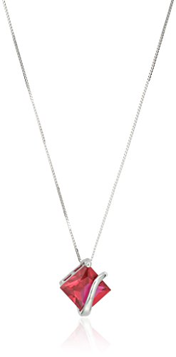 10k White Gold Princess Cut 8mm Created Ruby Swirl Pendant Necklace, 18