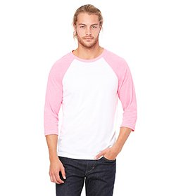 Bella 3200 Unisex 3 By 4 Sleeve Baseball Tee - White & Neon Pink, -