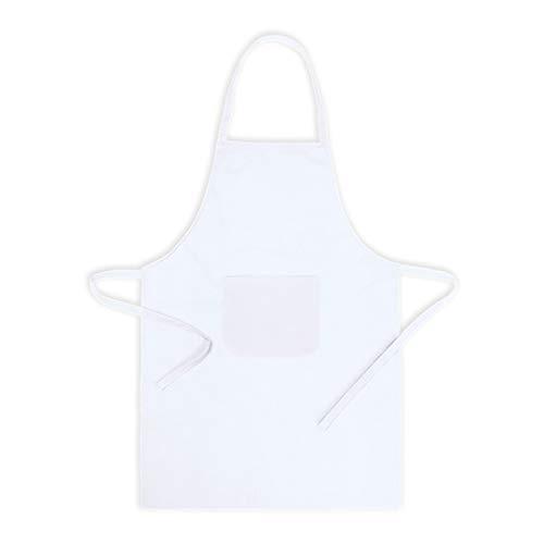 (eBuyGB Adjustable Plain Chefs Apron with Bib Pockets Waiter Bistro, White)