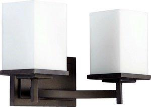Quorum Lighting 5084-2-86, Delta Glass Wall Vanity Lighting, 2LT, 150 Watts, Oiled Bronze ()