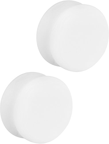 Set of 1 Inch White Acrylic Ear Gauges, 25mm Solid Double Flared Saddle Plug Earrings