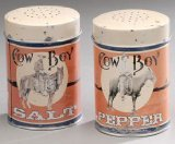 Cowboy Tin Salt and Pepper Shakers Set - Cork For Salt Shaker