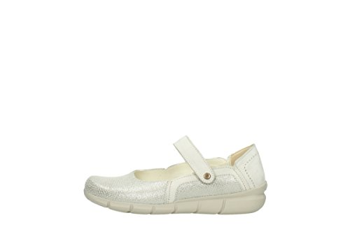 Wolky Marie Janes Cuir Imprimé Blanc 01513 Confort Argent Tanana 20120 Hors 5qqfwnFr