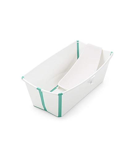 Stokke Flexi Bath Portable Baby Bathtub Bundle with Heat-Sensitive Plug and Newborn Baby Bath Support, White Aqua