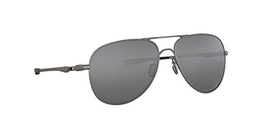 Oakley OO4119 Elmont Metal Aviator Sunglasses, Lead/Black Iridium Polarized, 58 mm