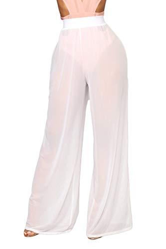 - Awoscut Women See Through Sheer Mesh Pants Beach Swimsuit Bikini Bottom Cover up Party Club Elastic High Waist Wide Leg Pants (White, M)