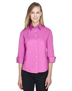 Devon & Jones Ladies' Three-Quarter Sleeve Stretch Poplin Blouse L Charity Pink