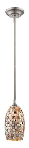 Satin Platinum One Light Pendant - Satin Platinum / Art Eco-Gem 48.5in. Height 1 Light LED Mini Pendant with Art Glass Shade with Bulb Included