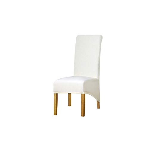 Long Back Decoration Chair Cover Fabric Chair Covers Restaurant Hotel Party Banquet Chair Slipcovers,Ivory,XL Size