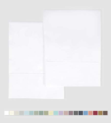 "Pizuna 400 Thread Count Cotton Pillow Cases King White, 100% Long Staple Cotton Pillow Covers, Soft Satin Pillowcase King Size with Stylish 4"" Hem (White King Cotton Pillowcases)"