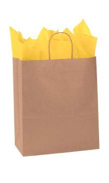 SSWBasics Natural Kraft Paper Shopping Bags - 13''L x 6''D x 15 ½''H - Case of 250