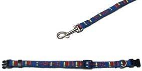 Welpen Set Hunde-Halsband und Hundeleine Nylon verschiedene Muster blau