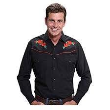 ELY CATTLEMAN Men's Embroidered Rose Design Western Shirt Black Large ()