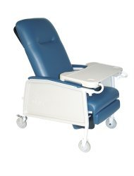 Drive McKesson Recliner Blue Vinyl Upholstered Four 5 Inch Casters With 2 Locks