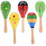 Maracas, 5 PCS Wooden Maraca Wood Rattles Shaker Kids Musical Party Favor Kid Baby Shaker Sand Hammer Toy Hand Decorated Colorful