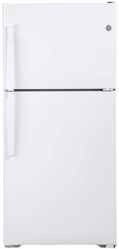 GE GTE19DTNRWW 30 Inch Freestanding Top Freezer Refrigerator with 19.1 cu. ft. Total Capacity, 2 Wire Shelves, 5.6 cu. ft. Freezer Capacity, Right Hinge with Reversible Doors, Crisper Drawer, Frost F