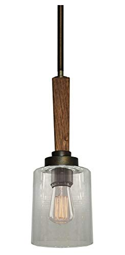 Artcraft Lighting Legno Rustico Single Pendant, Light Pine/Burnished Brass