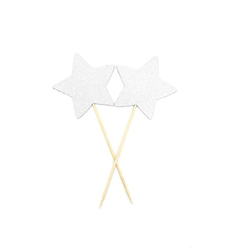 Double Sided Silver Glitter Stars Cake Toppers Silver Stars Twinkle Twinkle Little Star Decorations Wedding Cake Toppers Set of 18