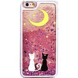 - iPhone 7 , Bling Hard Case Bumper for Clear Cover - Black White Sailor Cats Sit Under the Moon